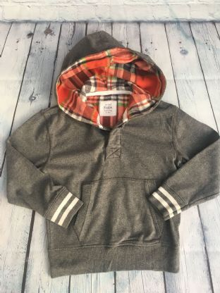 Mini Boden grey hoodie with tartan lined hood age 5-6